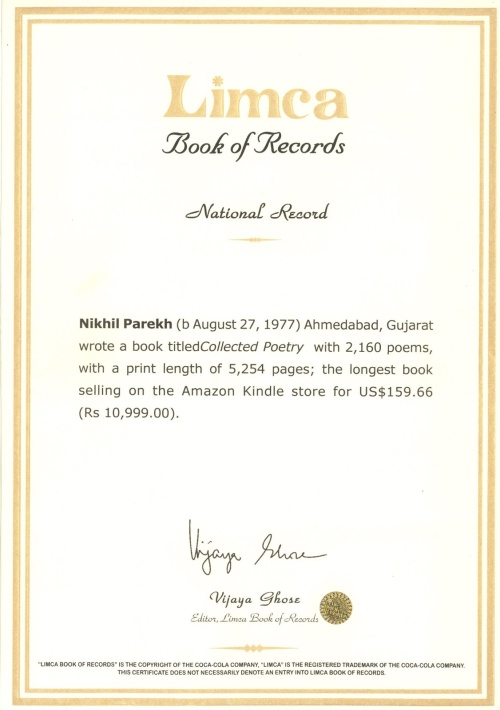 10th National Record In Poetry with Limca Book of Records India .