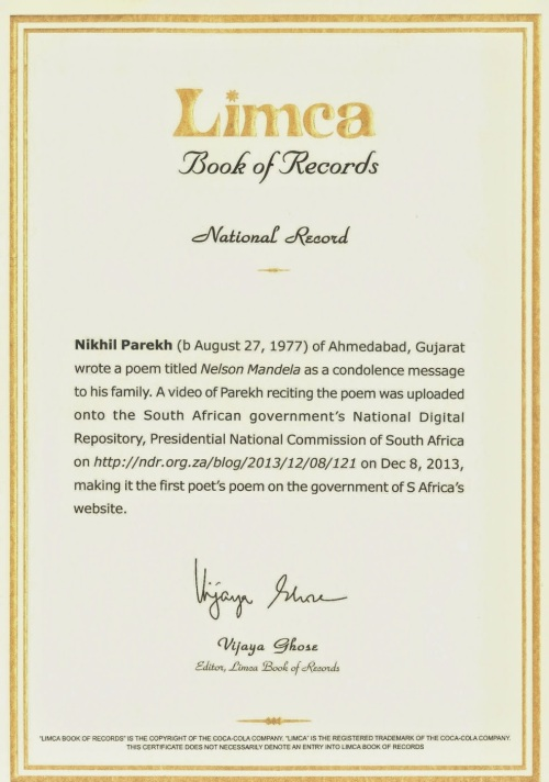 ninth National record in Poetry with Limca Book of Records India .